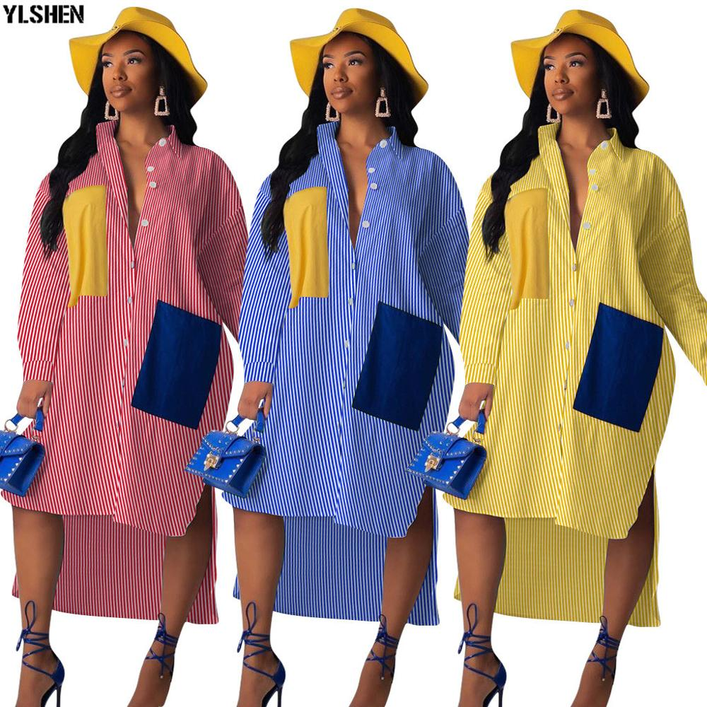 New African Dresses For Women Dashiki Stripe Print African Clothes Fashion Pocket Long Sleeve Africa Shirt Dress Ladies Clothing