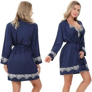 Image 4 - JULYS SONG New 4 Pieces Women Pajamas Sets Faux Silk Pajamas Sleepwear Sets Elegant Sexy Lace Fashion Spring Autumn Homewear