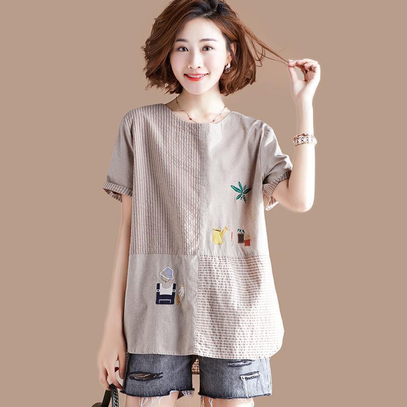 Yaz moda kadınlar uzun kollu o-boyun Tshirt Patchwork şerit gevşek Casual Tee gömlek Femme pamuk keten üstleri artı boyutu D498