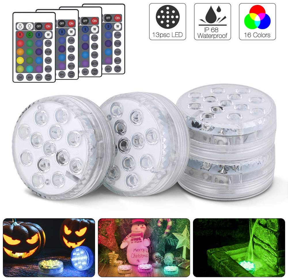 Submersible LED Lights, Pond Lights With Remote Control 13-LED RGB Underwater Hot Tub Lights For Aquarium,Vase Base,Pond,Pool