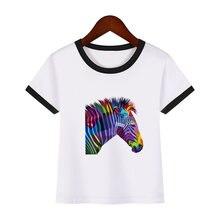 Футболка для мальчиков и девочек Радужный топ с принтом зебры