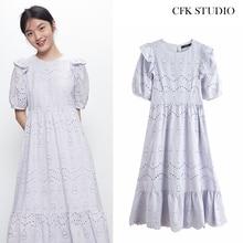 Za Women Elegant Mididress Femme Summer Embroidery O-neck Hlaf sleeve Loose A-line Dress Ro