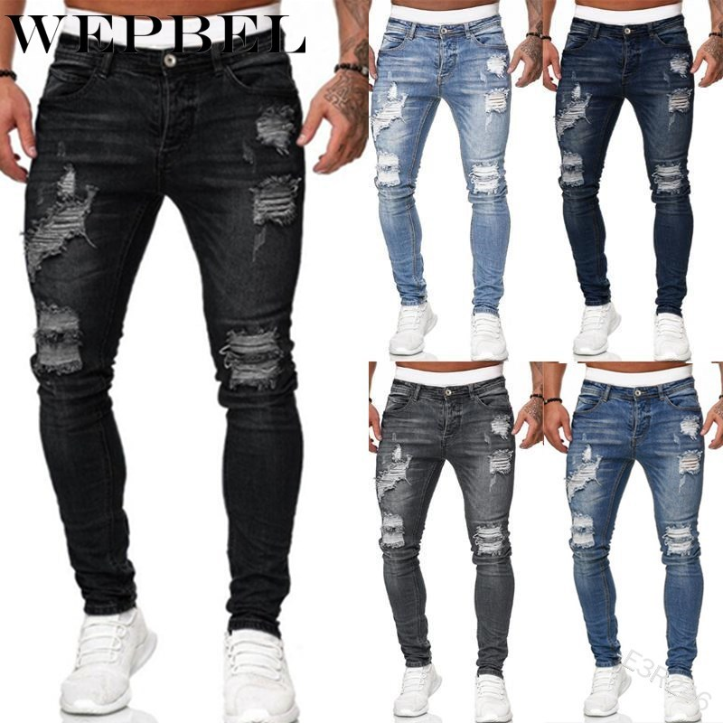 WEPBEL Men's Sweatpants Sexy Hole Jeans Pants Casual Summer Autumn Male Ripped Skinny Trousers Slim Biker Outwears Pants