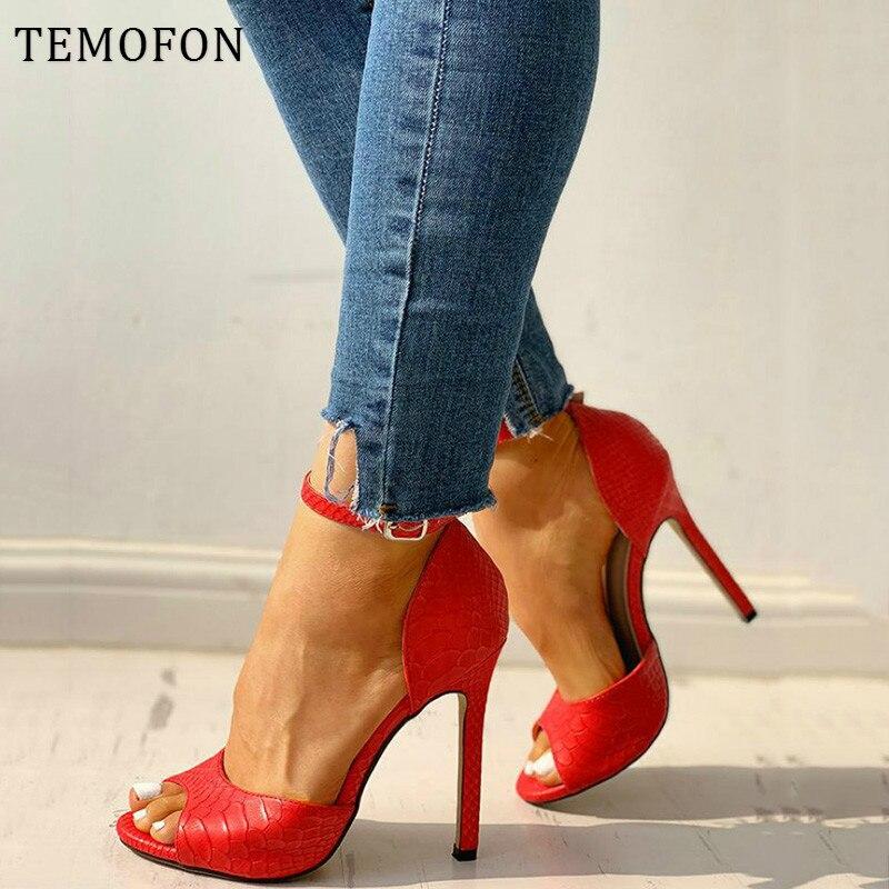TEMOFON High Heels Shoes Women Pumps Open Toed Heels Black Sexy Pumps Peep Toe Women Heels Ladies Sandals Talon Femme HVT1145