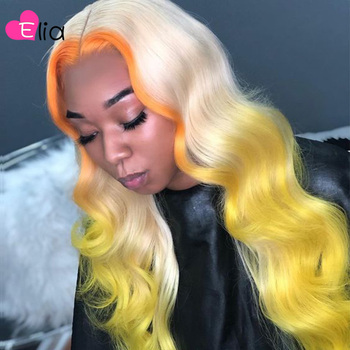 Elia Ombre 613 Yellow Green Colored Lace Frontal Wig HD Virgin Indian Human Hair New 13x5 Middle Part Body Wave Wig Wholesale image