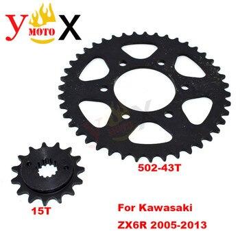 ZX-6R Motorcycle Front & Rear Set 15T 520-43T Chain Sprocket Gear Steel For KAWASAKI Ninja ZX6R ZX636 636 2005-2013 2006 2007 08