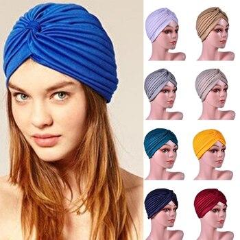 Women Soft  Elastic Jersey Inner Hijabs Solid Color Easy Cap Muslim Turban Headwrap Chemo Hats Islamic Headband Sports Yoga Cap