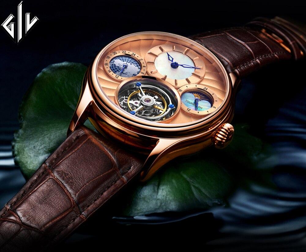 GIV Tourbillon Luxury Watch Men 50Bar Waterproof Business Mechanical Hand Wind Top Brand Sapphire Fashion Relogio Masculino
