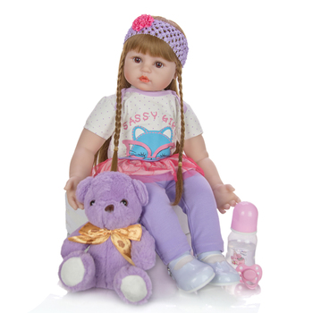 24 Inch reborn toddler  Baby Girl Doll 60 cm lovely silicone Vinyl Cloth Body bebes reborn Lifelike Boneca Reborn Kids Best gift