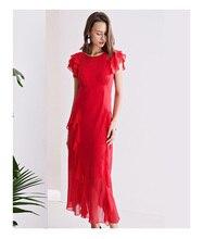 Ipek elbise lotus yaprağı kol uzun ince kırmızı elbise