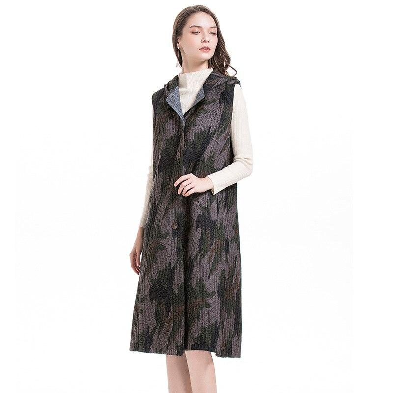 Chaleco con capucha algodón MIYAKE pliegue invierno largo fino algodón abrigo moda popular chaleco envío gratis - 3