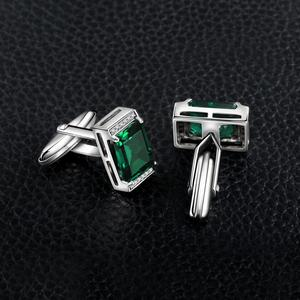 Image 3 - JewelryPalace erkekler lüks oluşturulan Nano rus zümrüt yıldönümü düğün kol düğmeleri 925 ayar gümüş