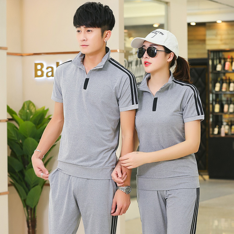 Couples Sports Set Men's Summer Casual Athletic Clothing Short Sleeve MEN'S Sportswear Set Running WOMEN'S Suit Summer