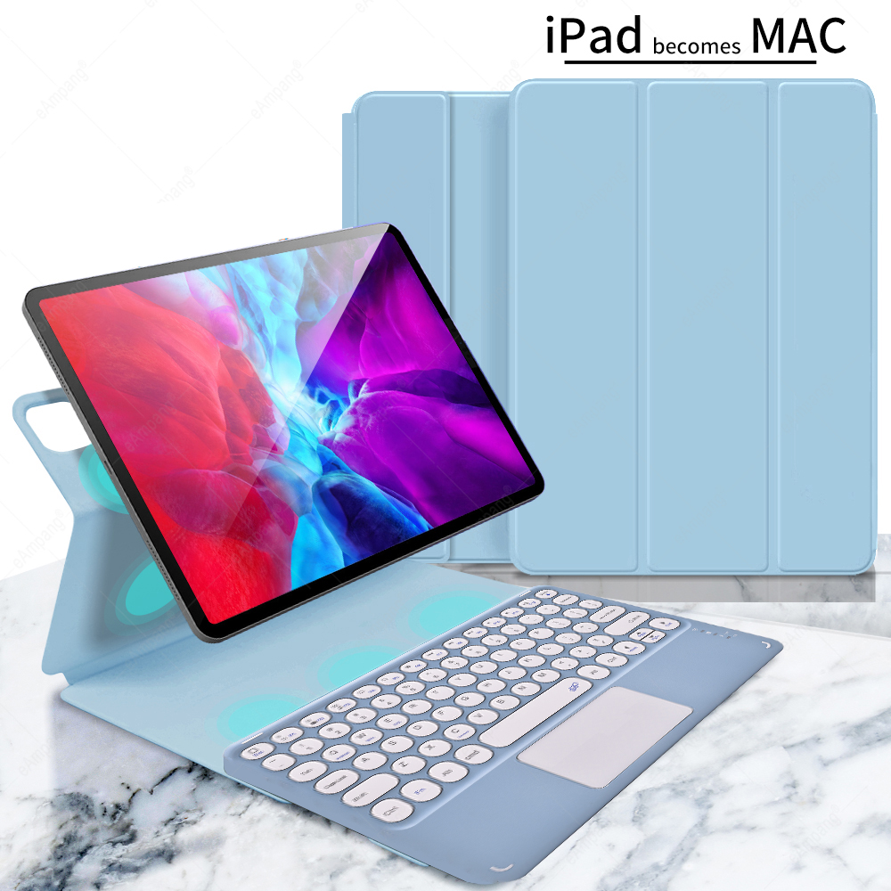 blue with blue Green For iPad Pro 11 2021 2020 2018 A2301 A2459 A2460 Magnetic Case Keyboard Spanish Russian Korean