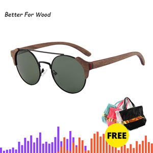New product Men Women Retro Round Wood Sunglasses Polarized Lens