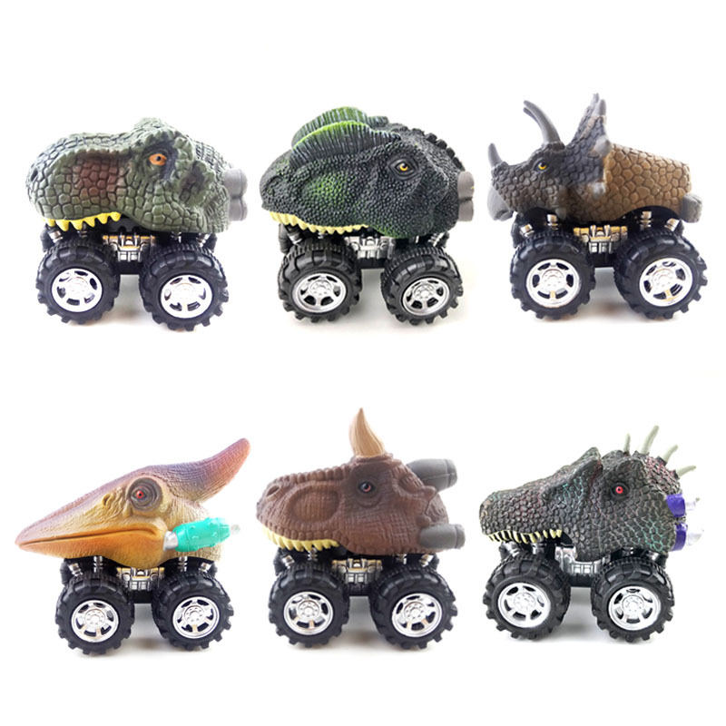 Cartoon Toy Car Children Inertia Plastic Dinosaur Pull Back Car Elastic Racing Mini Dinosaur Car Model Boy Birthday Gifts