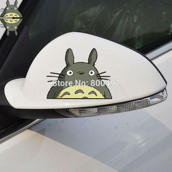 2 x Newest Car-Styling Cartoon Cat Totoro Rearview Mirror Car Stickers for Toyota Ford Focus 2 Chevrolet Volkswagen Tesla Lada image