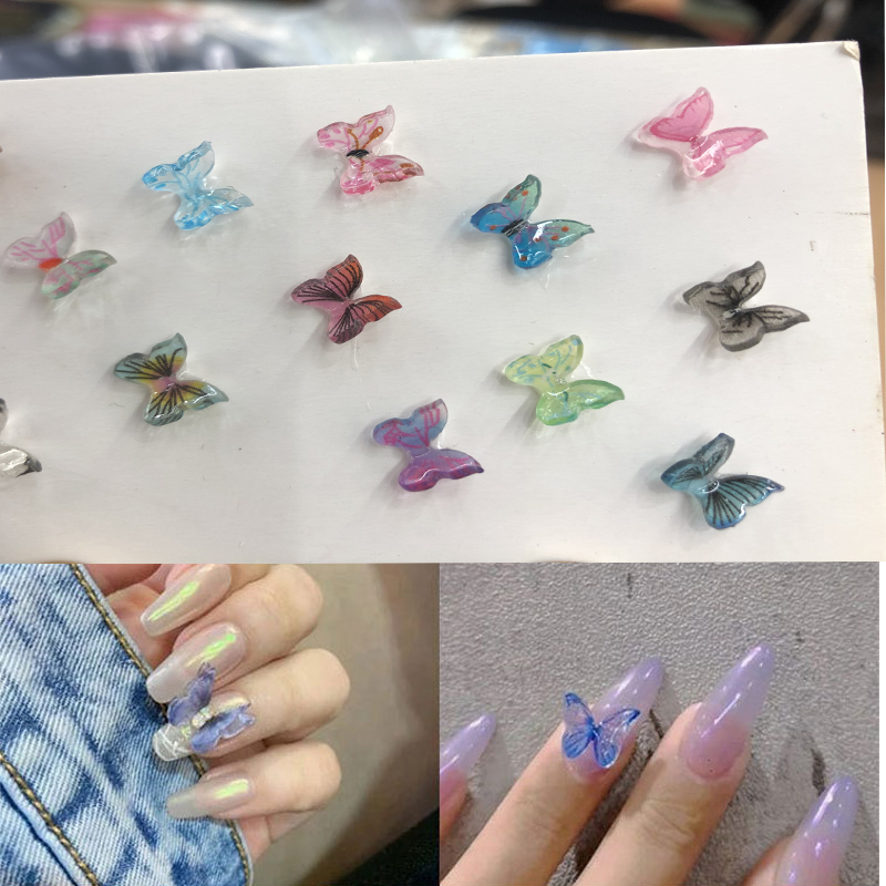 New 3D DIY 100 pcs Rainbow Fresh Natural resin Butterfly Charm Nail Decoration Nail Art Jewelry 3-dimensional Nail Accessories