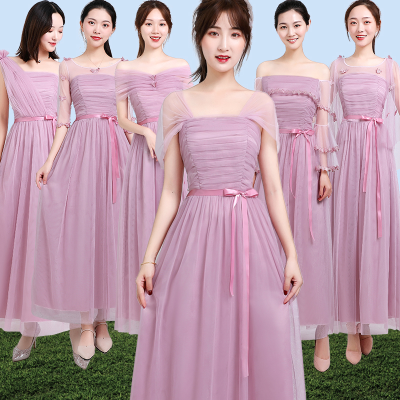 Burgundy Bridesmaid Dresses Guest Wedding Party Junior A-Line Elegant Floor Length Pink Plus Size Long Formal Sister Prom Dress
