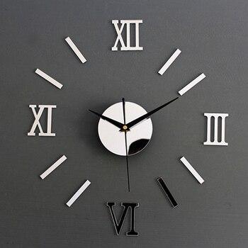 Roman Numerals Frameless Large Acrylic Mirror Surface 3D DIY Wall Clock Home Office School Wall Decor Clock Stickers NN 1