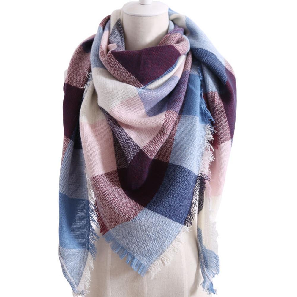HEFLASHOR Plaid Color Simple Women Scarfs 2019 Triangular 140*140*190cm Cashmere Warm Autumn Winter Shawls Wraps Scarf For Women