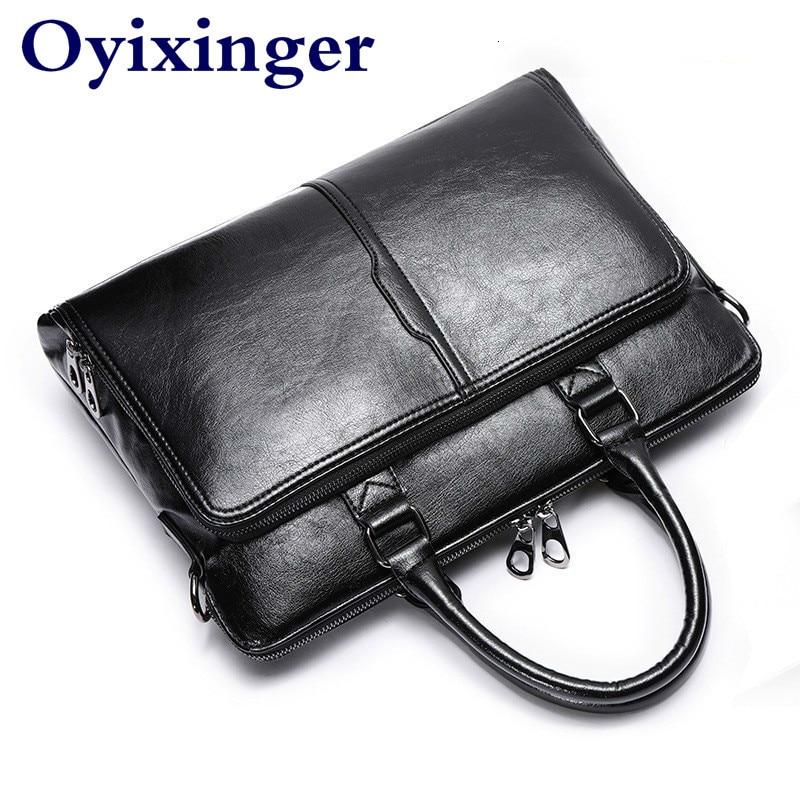 Men Laptop Briefcase Messenger Bag Leather Shoulder Crossbody Business Travel Man Handbag Bolsa Masculina Bolso Hombre Sac Homme