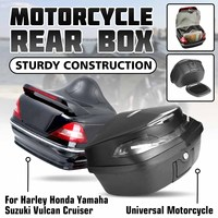 Universal 48L Motorcycle Rear Trunk Tail Storage Box Top Case W/Taillight For Honda/Yamaha/Suzuki