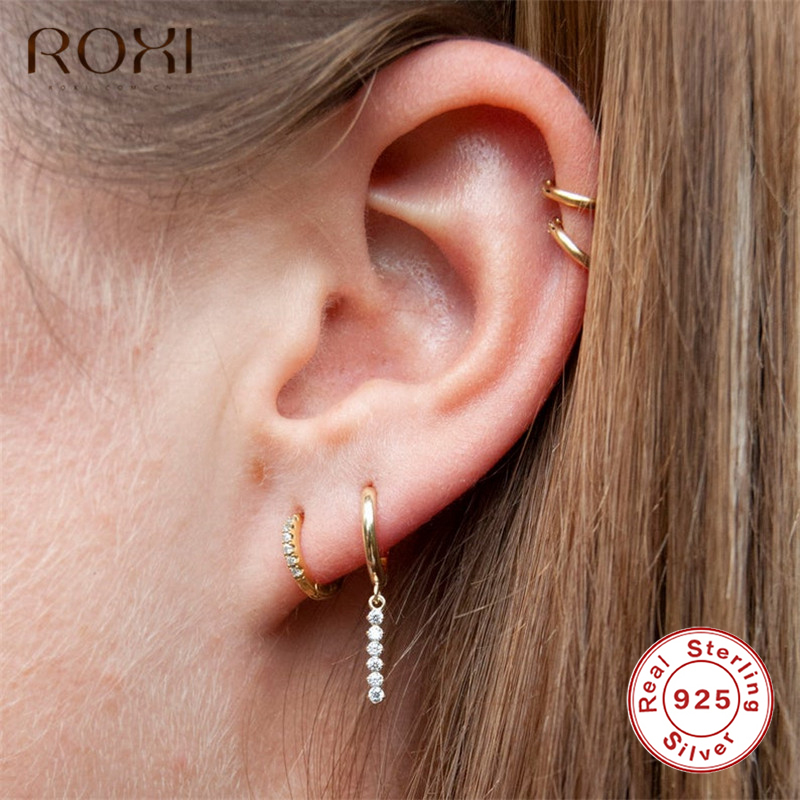 ROXI 925 Sterling Silver Tassel Stick Bar Stud Earrings For Women Long Tassel Crystal Bar Geometric Earrings Minimalism Jewelry