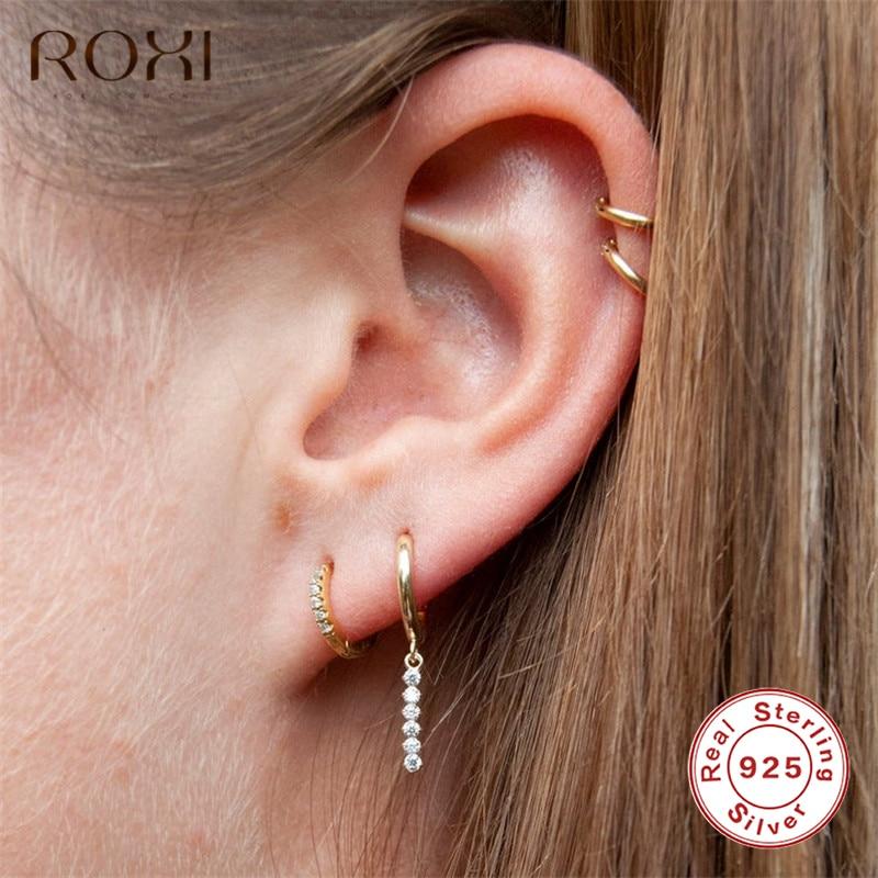 ROXI 925 Sterling Silver Tassel Stick Bar Stud Earrings For Women Long Tassel Crystal Bar Geometric Earrings Minimalism Jewelry
