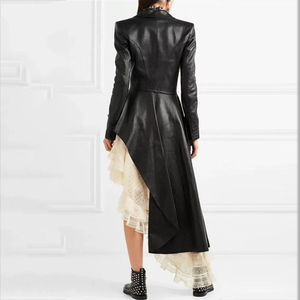 Image 3 - DEAT Autumn And Winter Fashion Clothes Women Turn down Collar Full Sleeve PU Leather Asymmetrical Windbreaker Trench WJ15101L
