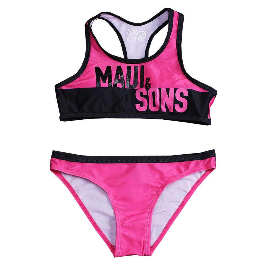 6-14Y فتاة في سن المراهقة مجموعة البكيني الاطفال إلكتروني طباعة ملابس السباحة الفتيات قطعتين ملابس سباحة للأطفال فتاة كبيرة ثوب السباحة الرياضة بحر