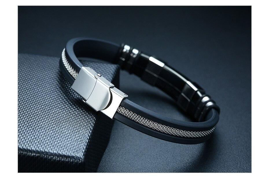 Hd4b57234c97b493e8b35746b37db2492D - Stainless Steel Bracelet Men Wrist Band Black Grooved Rudder Silicone Mesh Link Insert Punk Wristband Stylish Casual Bangle