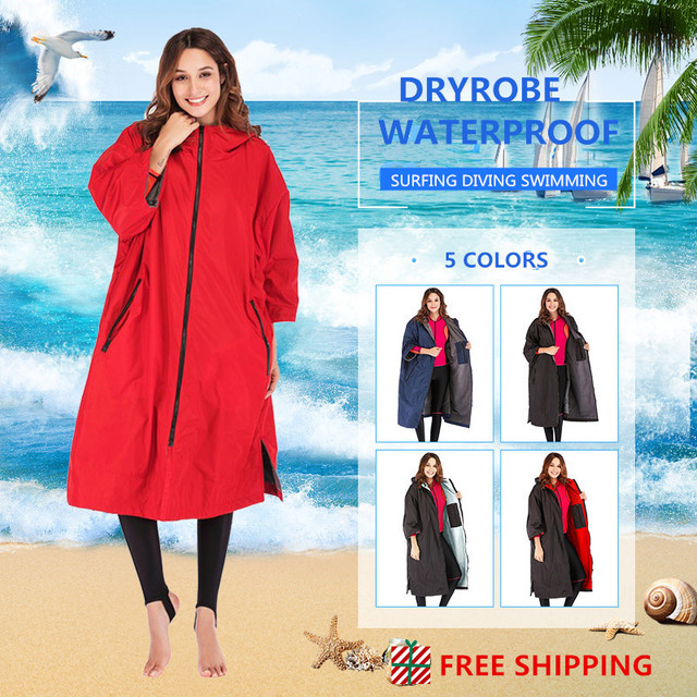 Free shipping 2020 hot sale waterproof hoodie poncho wet suit dry robe with microfiber terry toweling lining