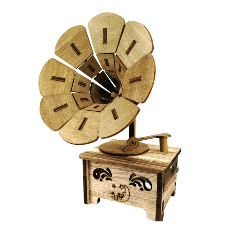 Wooden Retro Music Box Phonograph Shape DIY Children Girl Gift Home Office Decor G99C