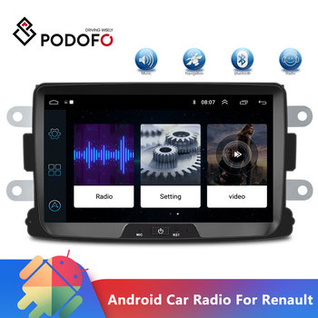 Podofo 2 Din Android Car Radio Autoradio 8'' GPS MP5 Mirror Link For Renault Sandero/Duster/Logan/Dokker Multimedia Player image