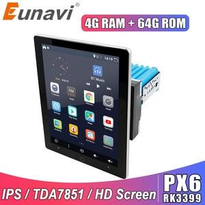 Eunavi 2 din car multimedia player universal radio stereo GPS navigation TDA7851 IPS Electric rotation screen 4G 64GB Android 10