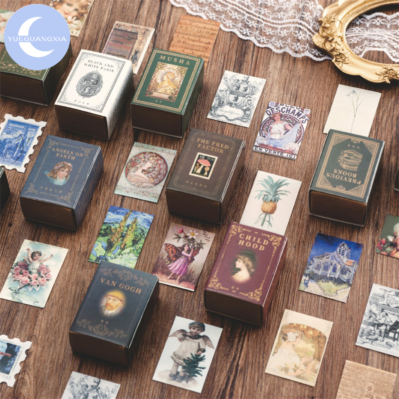 YUEGUANGXIA 100pcs/box Retro Story Old Letter Flower FairyKraft Paper Bullet Journaling DIY  Scrapbooking Decoration LOMO Cards