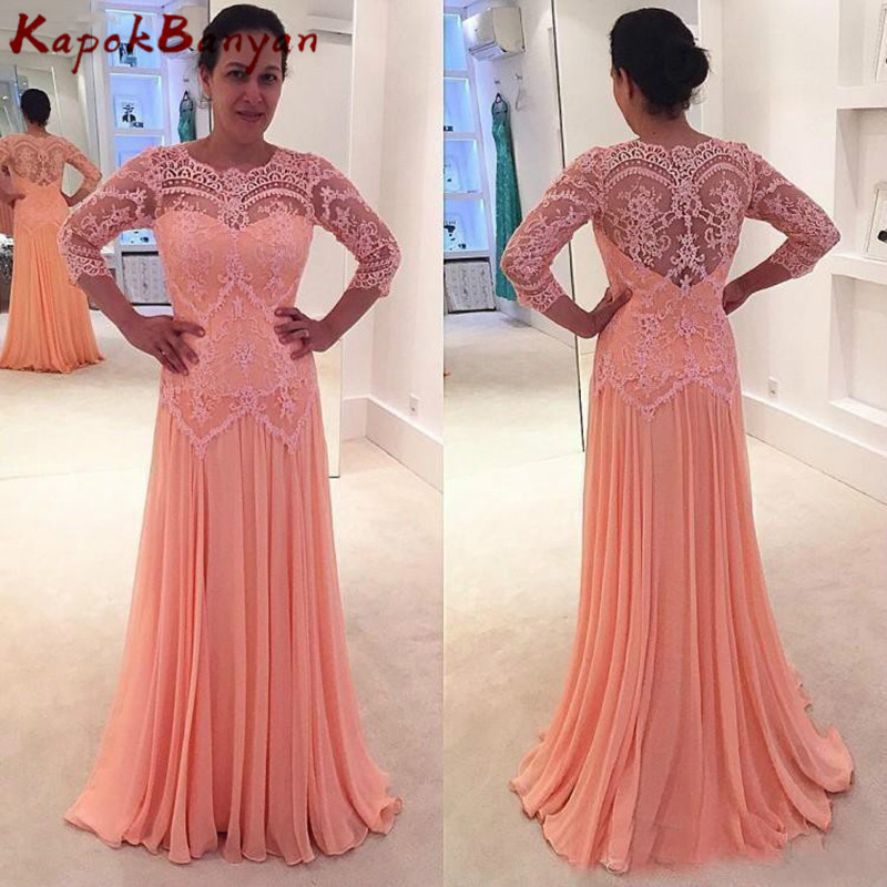 Peach Scoop Neck Zipper A-line Lace Mother Of The Bride Dress 3/4 Sleeves Chiffon Formal Gown