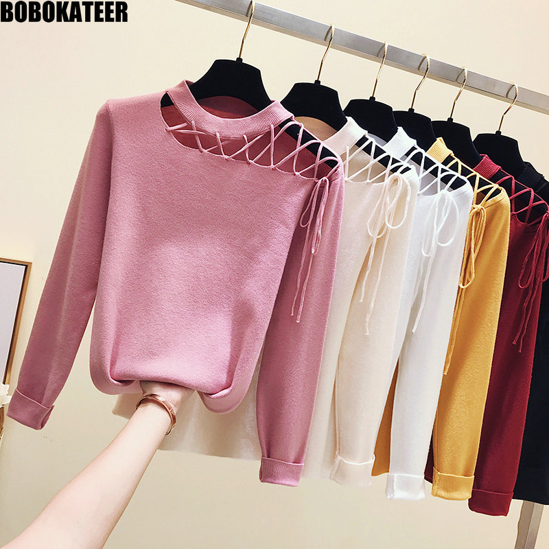 BOBOKATEER Winter Pink Half Turtleneck Sweater Women Clothes White Knitted Pullover Black Female Sweater Pull Jumper Fall 2019