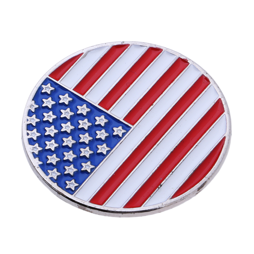 Golf Club Ball Marker And USA America Flag Magnetic Golf Hat Clip - Perfect Gift For Men Women Golfer