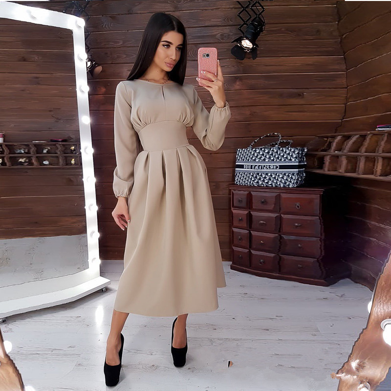 Women Vintage Solid A-line Party Mid Length Dress O Neck Long Sleeve Elegant Dress 2019 Autumn Winter New Fashion Casual Dresses