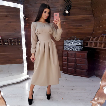 Women Vintage Solid A-line Party Mid Length Dress O neck Long Sleeve Elegant Dress 2020 Autumn Winter New Fashion Casual Dresses new arrival summer casual sleeveless solid women a line dress elegant simple o neck ruffles striped mini dress party dress 9166