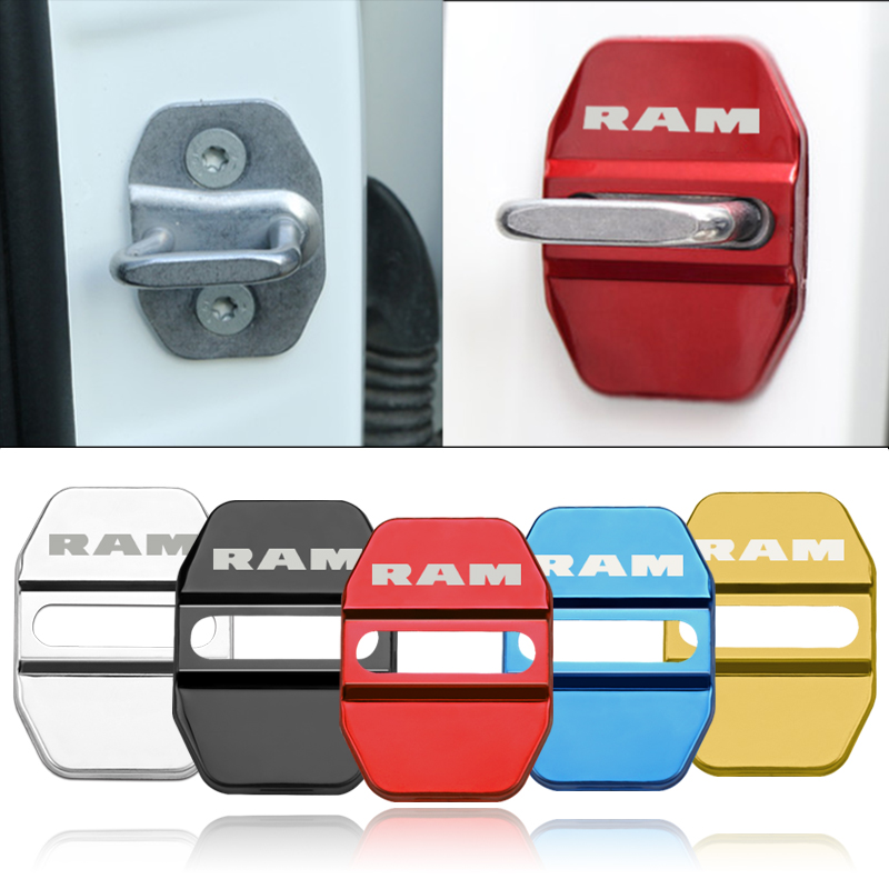Car Styling Auto Emblem Protection Door Lock Cover Case For Dodge Ram 1500 2500 3500 Stainless Steel Accessories Stickers