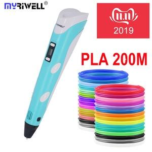 Myriwell 3d Ручка 3d ручки, светодиодный дисплей, 20x 5 mABS/PLA нити, лучший подарок для детей 3 d pen-3d волшебная ручка 3d модель Смарт 3d принтер ручка