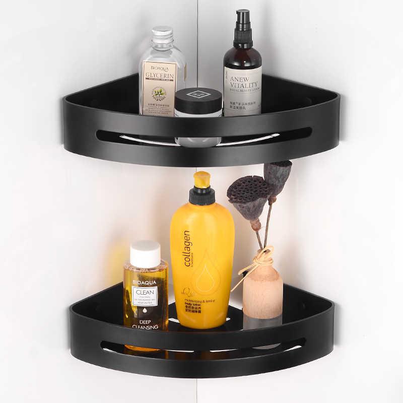 Uchwyt na ręczniki czarny wieszak na ręczniki wieszak na ręczniki aluminium 3 warstwa wieszak na ręczniki wieszak ścienny rogu łazienki półka szampon prysznic organizator
