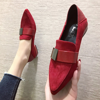 цена на Red Black Women Flats Pointed Toe Flat Heel Casual Shoes 2020 Fashion Shallow Single Shoes Women Zapatos Mujer