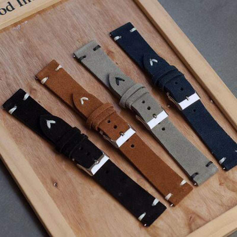 Genuine Retro Leather Suede Watchband 18mm 20mm 22mm Black Brown Blue Suede Watch Strap Stainless Steel Buckle Pulseira Male