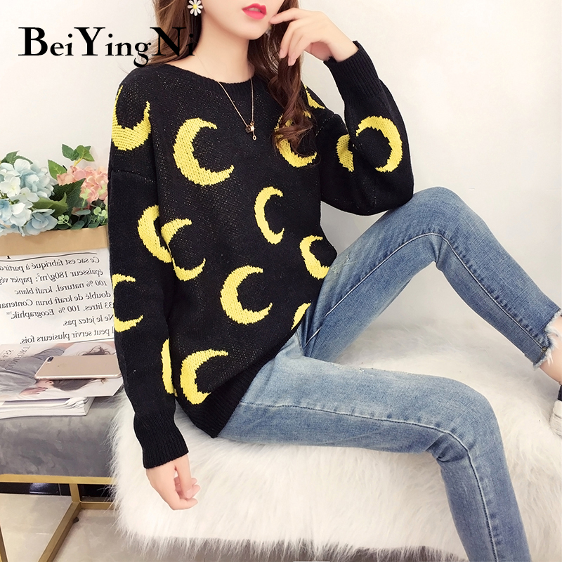 Beiyingni Long Sleeve Pull Femme Knit Casual Loose Moon Top Female Autumn Outwear Womens Sweaters Jumper Korean O-neck Pullovers
