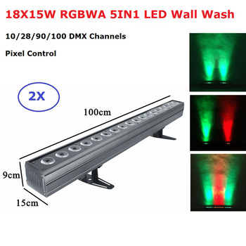 18X15W RGBWA Indoor LED Wall Wash Light DMX 512 Control LED Bar DMX Line Bar Wall Wash Stage Lighting Effect Disco Lights Party usb to dmx interface adapter led dmx512 studio computer pc stage lighting controller dimmer for led effect master slave led flat