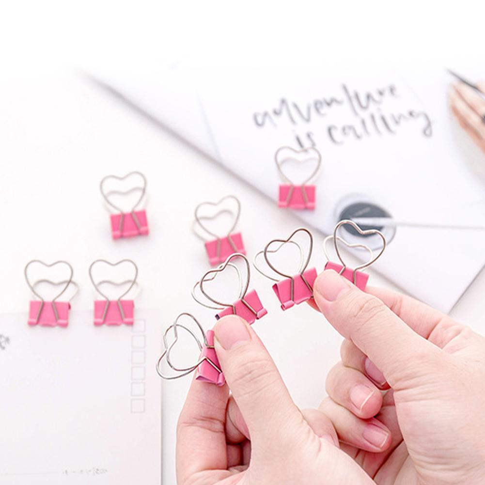 10 Pcs/lot Pink Clip Heart Hollow Out Metal Binder Office Clips Notes Clip Supplies Letter Paper W0B3